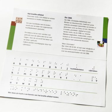 Braille alphabet with printed text and Braille