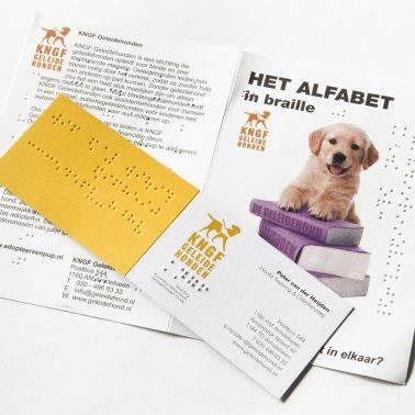 Braille alphabet and business card of KNGF [Dutch Society of physiotherapists]