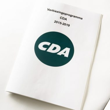 Political campaign leaflet of CDA, combined letter print and Braille