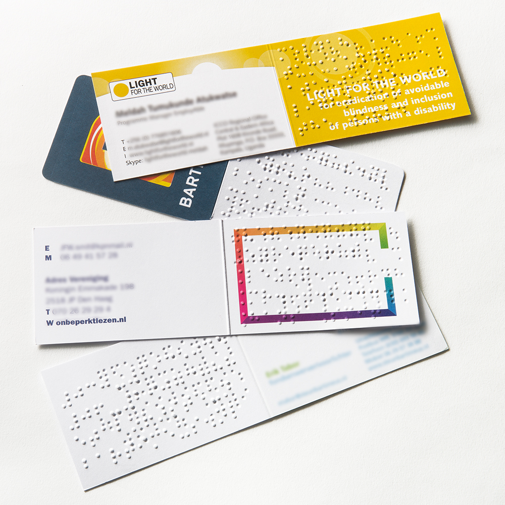 Braille-embossed fund raising business cards