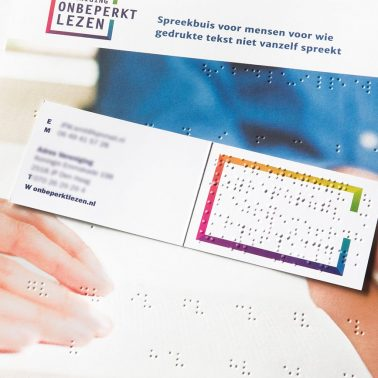 Braille alphabet and business card Vereniging Onbeperkt Lezen [Association for Unimpaired Reading]